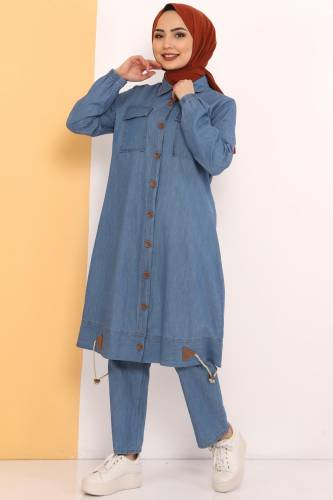 Gathered Skirt Double Jeans Suit TSD0450 Light Blue - Thumbnail