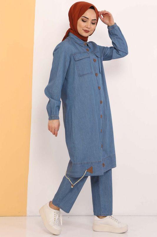 Gathered Skirt Double Jeans Suit TSD0450 Light Blue