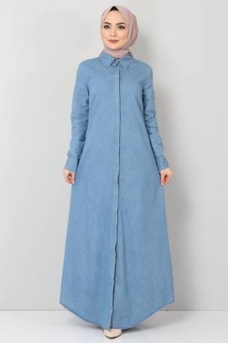 Tesettür Dünyası - Gizli Patlı Kot Elbise TSD1455 Açık