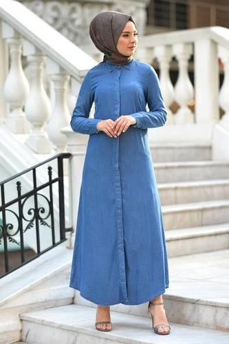 Tesettür Dünyası - Gizli Patlı Kot Elbise TSD5165 Açık