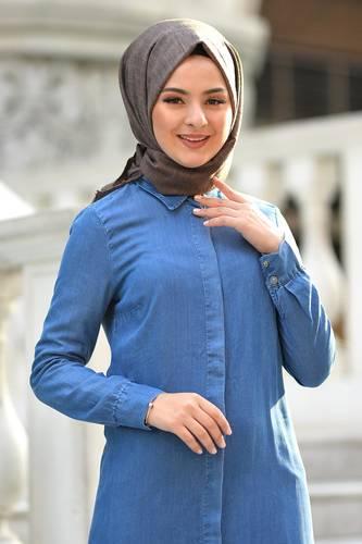 Tesettür Dünyası - Gizli Patlı Kot Elbise TSD5165 Açık (1)