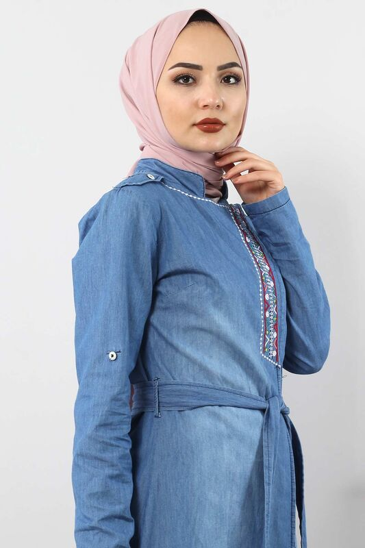Gizli Patlı Nakışlı Tesettür Kot Tunik TSD2088 Açık Mavi
