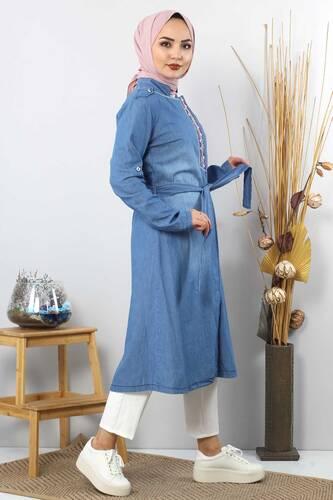 Gizli Patlı Nakışlı Tesettür Kot Tunik TSD2088 Açık Mavi - Thumbnail