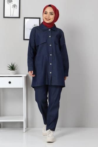 Tesettür Dünyası - Gömlek Pantolon Kot İkili Takım TSD2106 Koyu Mavi