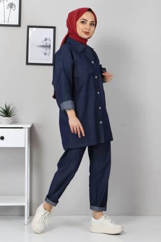 Tesettür Dünyası - Gömlek Pantolon Kot İkili Takım TSD2106 Koyu Mavi (1)