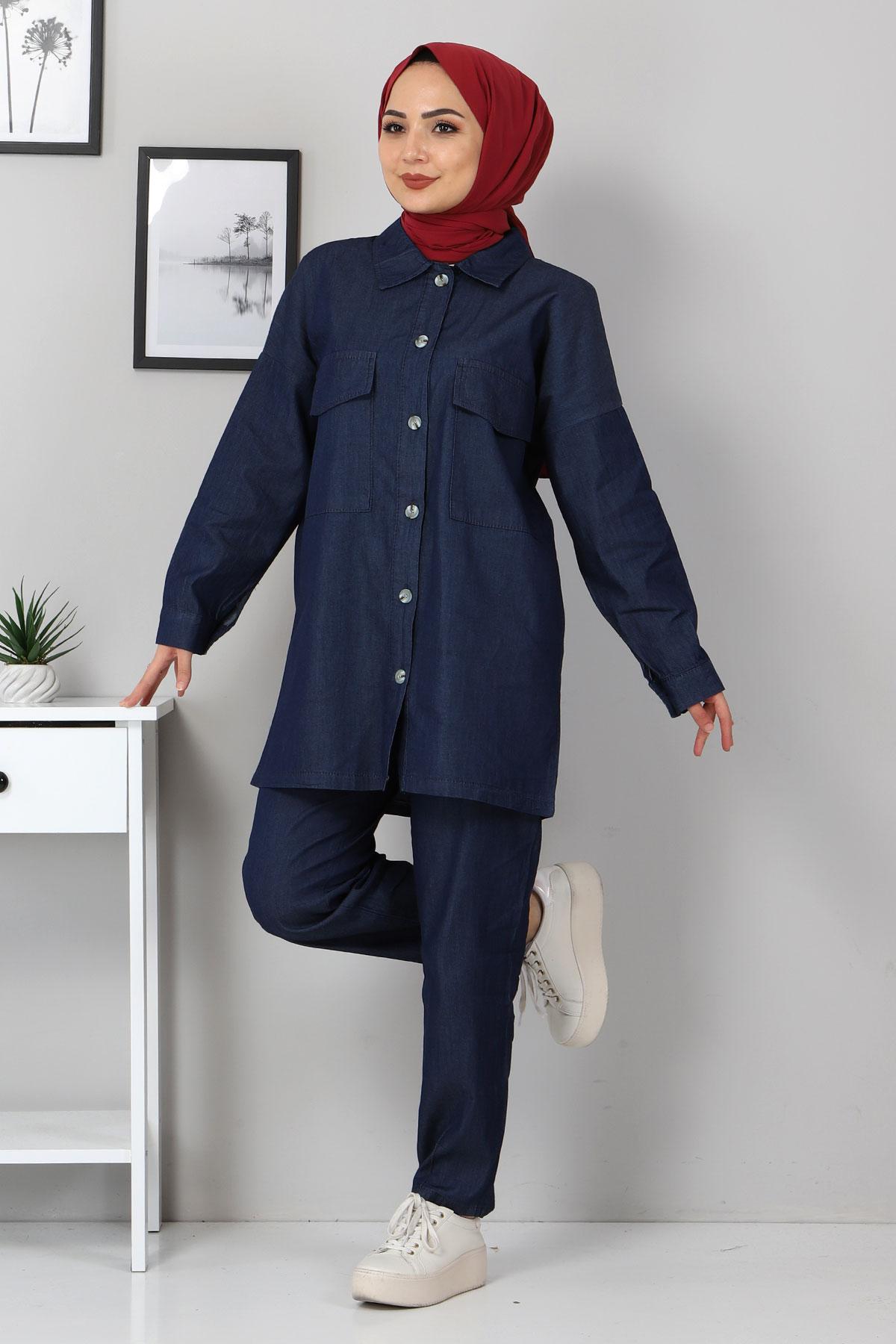 Gömlek Pantolon Kot İkili Takım TSD2106 Koyu Mavi