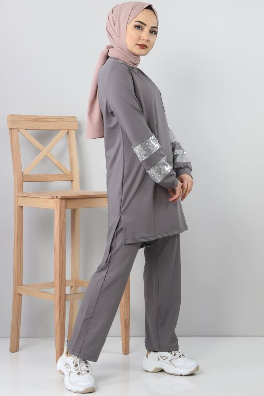 Gray Embroidered Tracksuit TSD1982