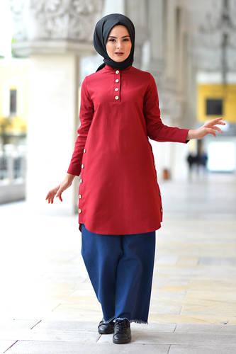 Tesettür Dünyası - Judge Collar Buttoned Tunic TSD1041 Claret Red (1)