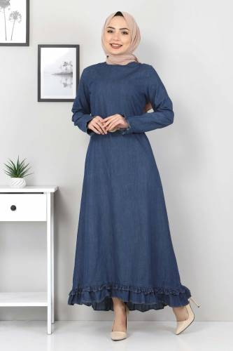 Tesettür Dünyası - Hasır Kemerli Fırfırlı Kot Elbise TSD6193 Koyu Mavi
