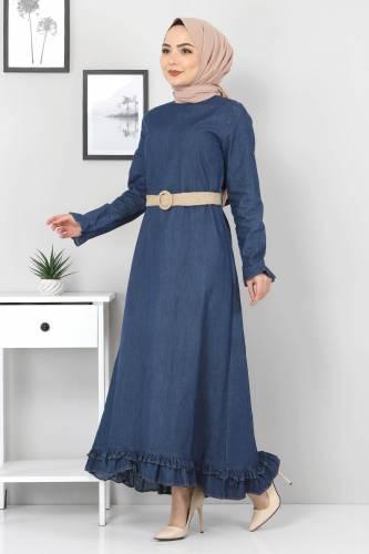 Tesettür Dünyası - Hasır Kemerli Fırfırlı Kot Elbise TSD6193 Koyu Mavi (1)