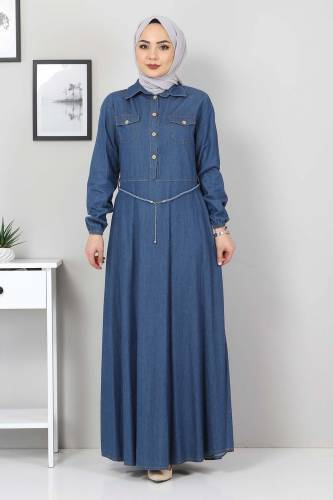 Tesettür Dünyası - Straw Belt Jeans Dress TSD0344 Blue