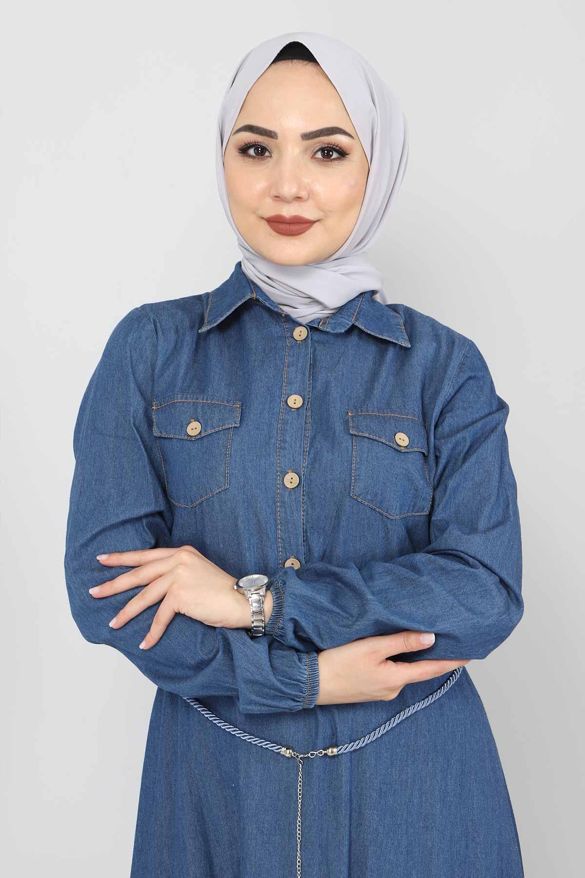 Hasır Kemerli Kot Elbise TSD0344 Mavi