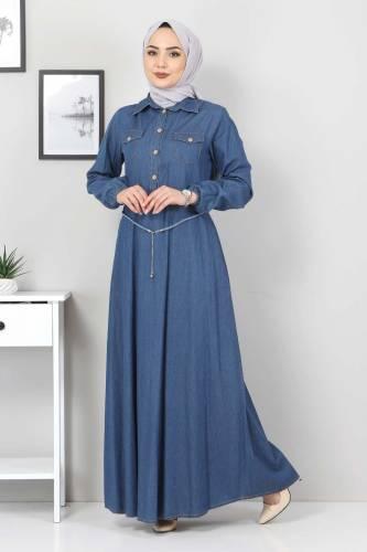 Hasır Kemerli Kot Elbise TSD0344 Mavi - Thumbnail