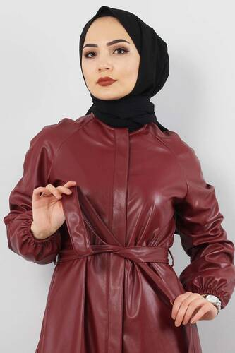 Hidden Patterned Leather Cape TSD5143 Claret Red - Thumbnail