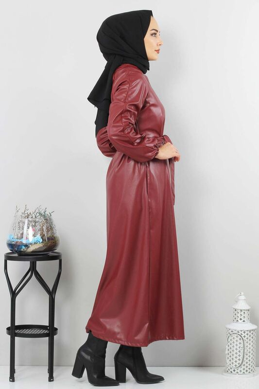 Hidden Patterned Leather Cape TSD5143 Claret Red