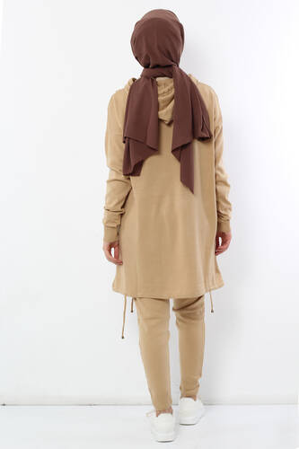 Hooded Double Sweater Suit TSD2010 Camel - Thumbnail