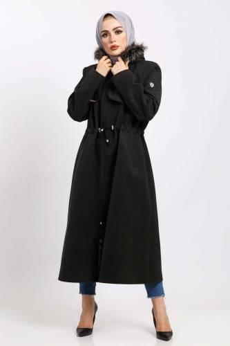 Tesettür Dünyası - Hooded Fur Coat Coat TSD850 Anthracite