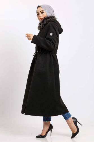 Tesettür Dünyası - Hooded Fur Coat Coat TSD850 Anthracite (1)