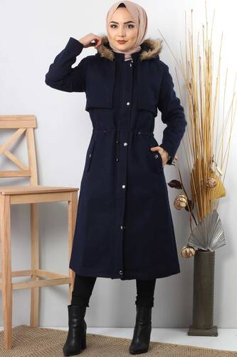 Tesettür Dünyası - Hooded fur coat TSD1170 Dark Blue.
