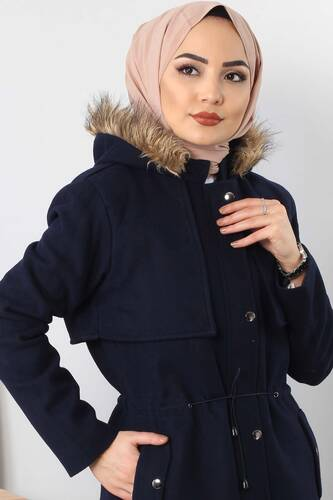 Tesettür Dünyası - Hooded fur coat TSD1170 Dark Blue. (1)