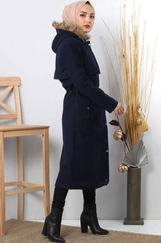 Hooded fur coat TSD1170 Dark Blue. - Thumbnail