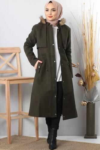 Tesettür Dünyası - Hooded fur coat TSD1170 Khaki.