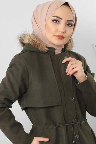 Tesettür Dünyası - Hooded fur coat TSD1170 Khaki. (1)
