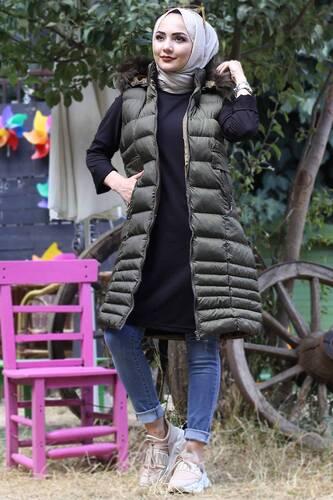 Tesettür Dünyası - Hooded Inflatable Vest TSD2461 Khaki