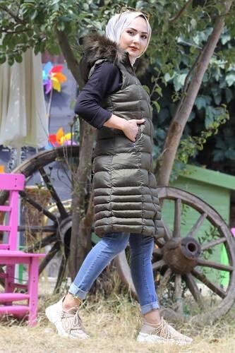 Hooded Inflatable Vest TSD2461 Khaki - Thumbnail