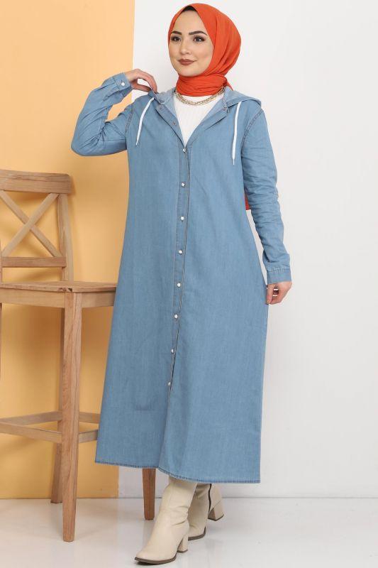 Hooded Jeans Cape TSD81999 Light Blue
