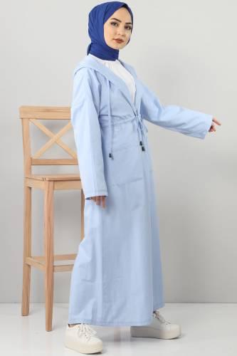 Hooded Long Sweater TSD3000 Light Blue - Thumbnail