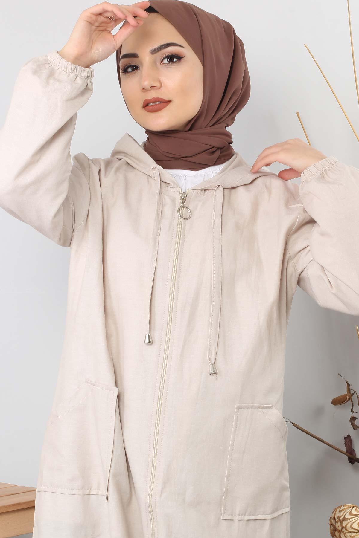 Hooded open jacket TSD1097 biege