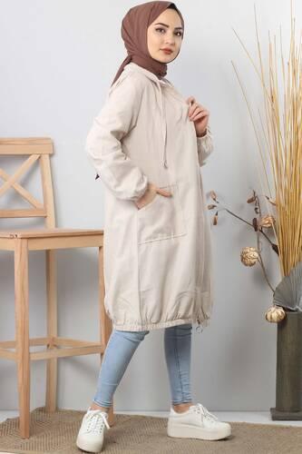 Hooded open jacket TSD1097 biege - Thumbnail