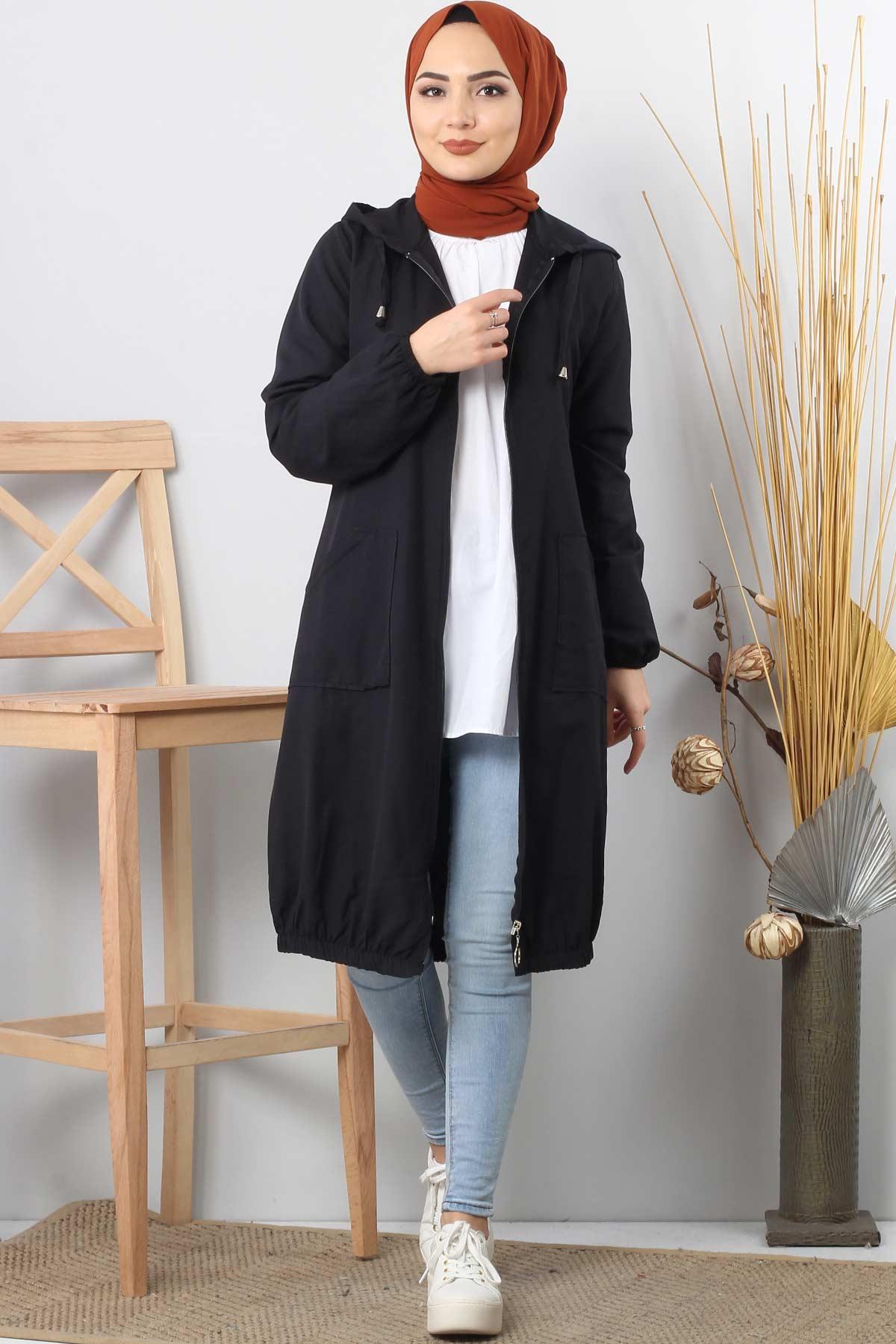 Hooded open jacket TSD1097 black