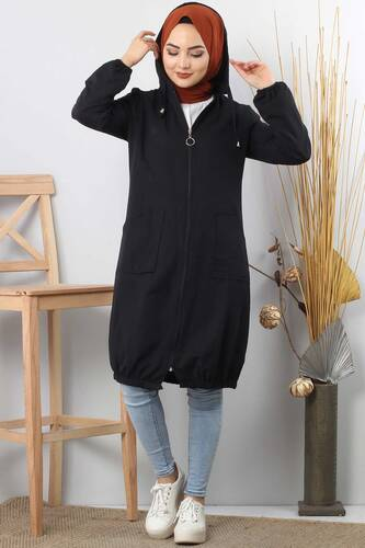 Hooded open jacket TSD1097 black - Thumbnail