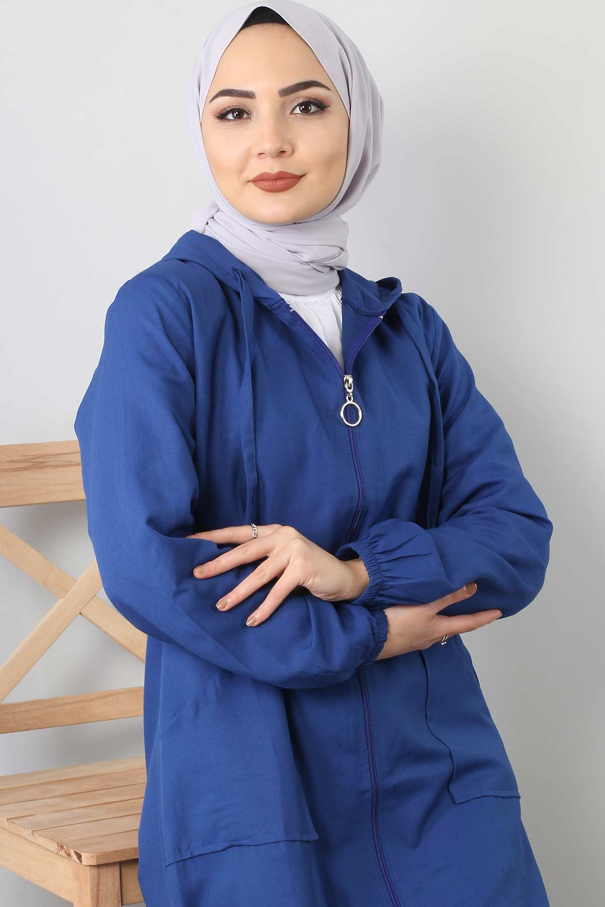 Hooded open jacket TSD1097 blue