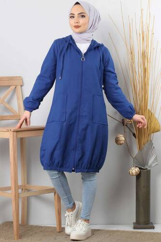 Hooded open jacket TSD1097 blue - Thumbnail