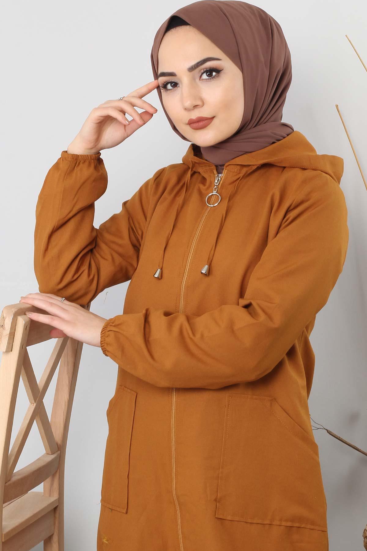 Hooded open jacket TSD1097 nude