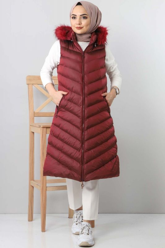 Hooded Puffer Vest TSD0913 dark red
