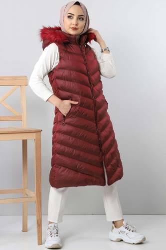 Hooded Puffer Vest TSD0913 dark red - Thumbnail