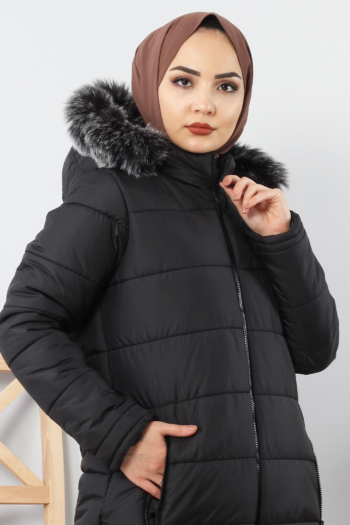 Hooded Quilted Coat TSD0908 Black