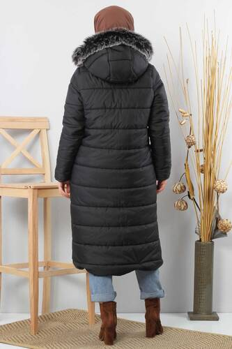 Hooded Quilted Coat TSD0908 Black - Thumbnail