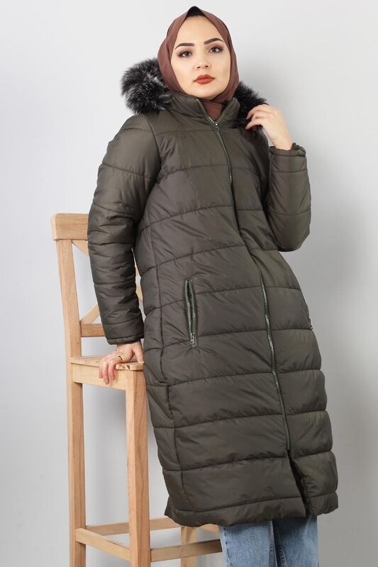 Hooded Quilted Coat TSD0908 Khaki