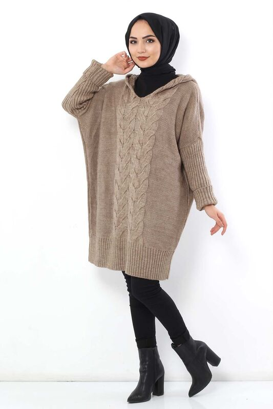 Hooded Tricot Tunic TSD1237 Soil Color.