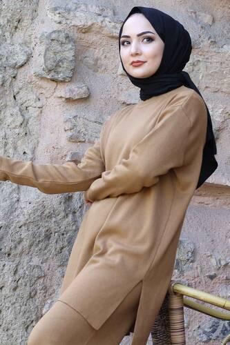 Tesettür Dünyası - İkili Triko Takım TSD1111 Camel (1)