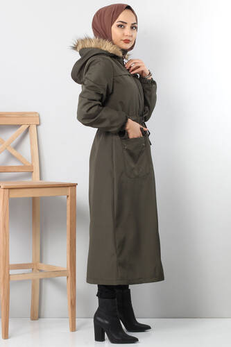 Inside Furry Waist Laced Coat TSD2112 KHAKI - Thumbnail