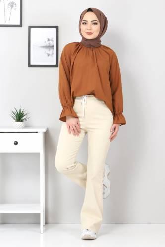 Tesettür Dünyası - İspanyol Paça Kot Pantolon TSD22014 Bej