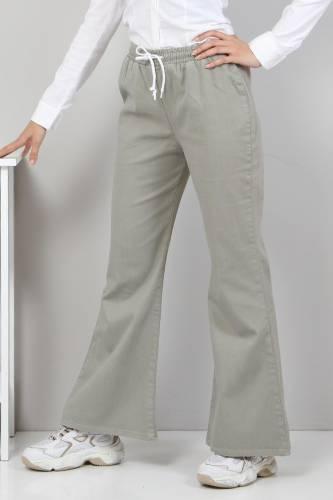 Tesettür Dünyası - İspanyol Paça Kot Pantolon TSD22014 Çağla Yeşili
