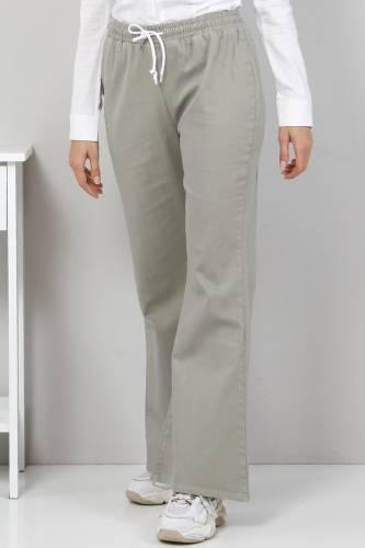 Tesettür Dünyası - İspanyol Paça Kot Pantolon TSD22014 Çağla Yeşili (1)