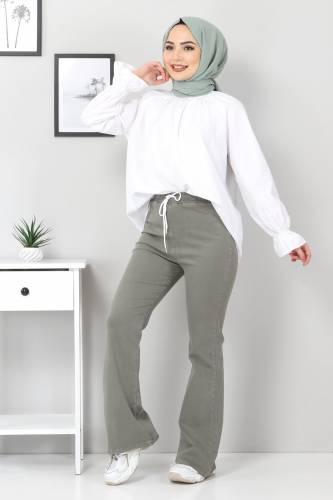 Tesettür Dünyası - İspanyol Paça Kot Pantolon TSD22014 Haki